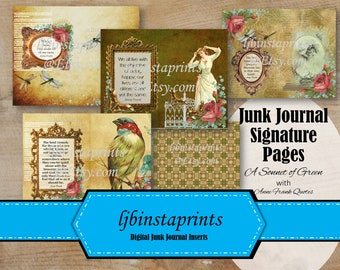 Ann Frank Quotes Junk Journal Kit, DIY Junk Journal Signature Cover Pages, Green Vintage Junk Journal, Instant Download