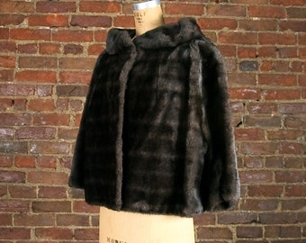 60s Faux Fur Shrug 50s Swing Chocolate Brown Cropped Coat 1960s Mid-century Winter Jacket 1950s New Look Medium Large