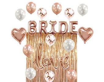 Rose Gold Bridal Shower Bachelorette Party Decorations Bride Rose Gold Balloon Destination Bridal Shower Love Balloon Heart Balloons