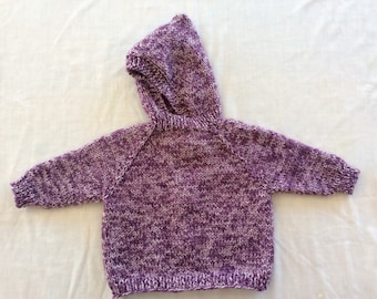 Hand knit, hooded, back zip baby sweater