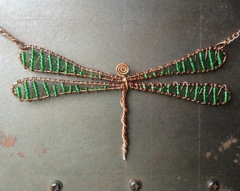 Green Glass Bead Copper Dragonfly Necklace