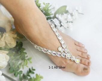 Wedding Barefoot Sandals, Rhinestone Foot Jewelry,Silver Foot Jewelry, Beach Wedding Footless Sandals,Garden wedding shoes -SD021