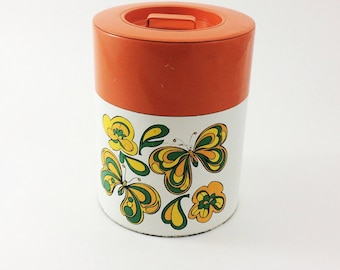 Vintage butterfly canister, butterfly container, made in Japan, from the 1960s