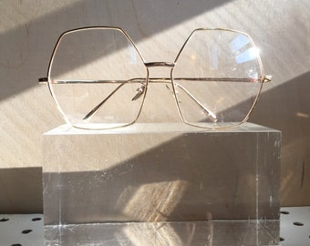 Vintage Oversized Hexagonal Gold Frame Eyewear Glasses