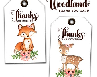 Sweet Rustic Woodland Party Thank You Tags, Instant Download, Print Your Own