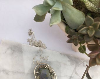 Natural Moss Agate Sterling Silver Necklace, Moss Agate Necklace Pendant, Moss Agate Pendant, Agate Pendant, Silver Necklace, Agate Jewelry