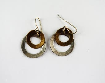 Marjorie Baer MB SF vintage brutalist modernist mixed metal hammered silver tone brass gold tone dangle two 2 circle flare out when worn