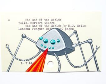 The War of the Worlds by H.G. Wells - Print of my painting on library card