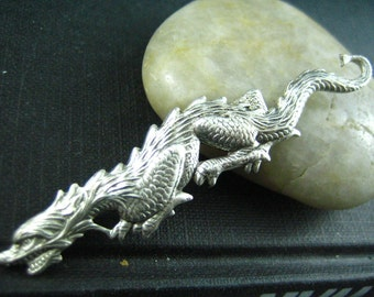 1 PC ox sterling silver plated brass Large Stalking Dragon (A67A)
