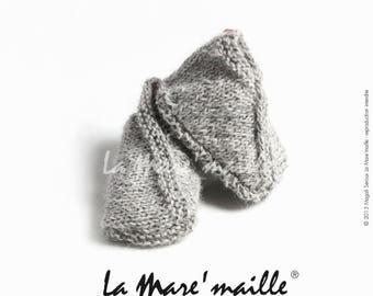 Baby booties baby wool knitted grey Alpaca hand de La Mare' mesh