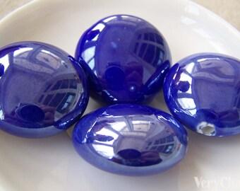 Rondelle Ceramic Beads Navy Blue Large Size 28mm Set of 8 pcs A2646