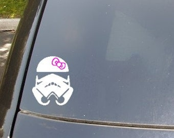 Storm Trooper with Pink Bow Car Decal