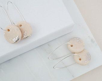 Hoop earrings, long earrings, dangle earrings, hoops, pink earrings, polymer clay jewelry, sterling silver hoops, thin silver hoop earrings