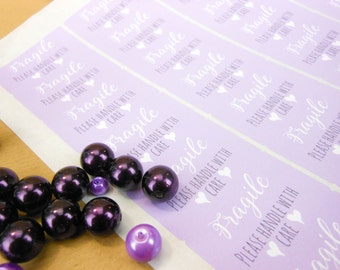 Fragile stickers, Purple rectangle, postage stickers, please handle with care, fragile labels, handle with care, shipping labels, package