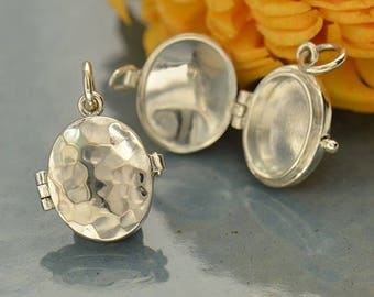 Sterling Silver Oval Locket with Hammered Finish