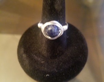 Lapis Lazuli Wire Wrapped Ring