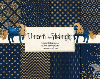 Unicorn Midnight Digital Papers and Clipart, digital scrapbooking kit, royal navy blue and gold celestial unicorn birthday png graphics