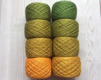 Mulberry silk 100%,handdyed yarn, hand painted. Summer set. 200g.