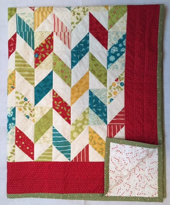 Christmas Lap Quilt, Christmas Sofa Quilt, Christmas Patchwork Quilt, Quiltsy Handmade