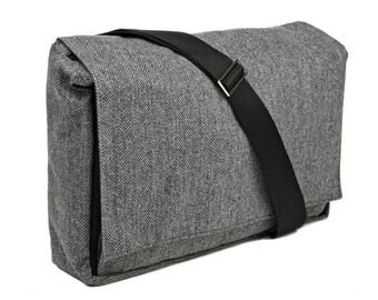 Grey tweed Large Bag - Messenger Bag with Adjustable Straps - Dundee Vegan Messenger