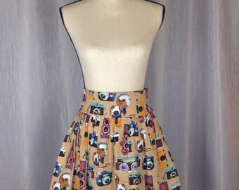 Handmade Retro Camera Print Flate Skirt