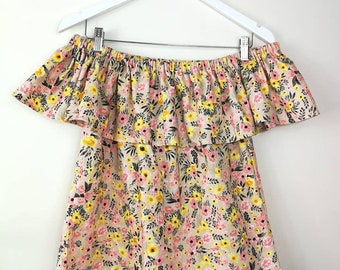 Bardot top, Off the Shoulder, Summer Top, Ruffle Top, Sleeveless, Elasticated, 100% Cotton, Pink, Peach, Yellow, Floral Bardot Top, Ditsy