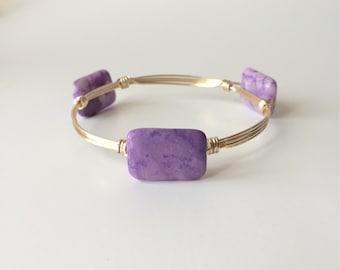 Purple Ocean Jasper Stone Wire Wrapped Bangle Bracelet