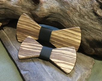Father Son Bowtie Set in ZebraWood