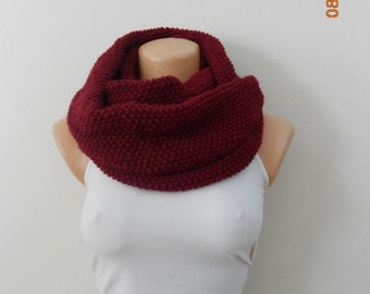 Women s Circle Scarf , burgundy Cowl , Winter Accessories ,burgundy , Women's Fashion Accessories