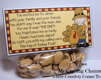 Set of 12,Funny Turkey Poop Treat Bag Toppers,Bag Topper,Thanksgiving Bag Topper,Thanksgiving,Topper,Turkey,Funny