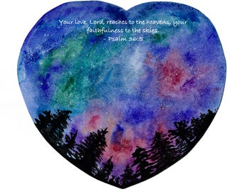 Psalm 36:5 Love heavens valentine Bible verse watercolor print