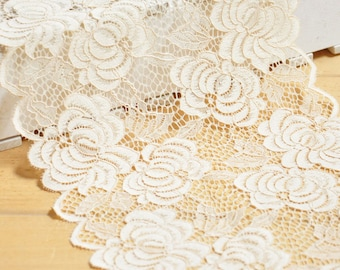 """3 Yards 8"""" Width  Floral Embroidery Lace Trim"""
