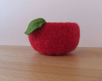 Apple in Red Felted Woolen Bowl