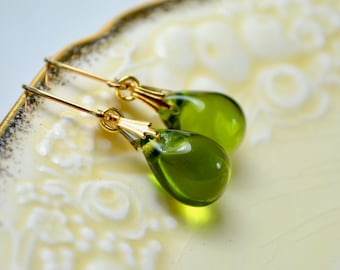 Olive Green Earrings, Glass Earrings, Green Jewelry, Gold Leverback Earrings, Green Teardrop Earrings, Dangle Earrings, UK, Girlfriend Gift