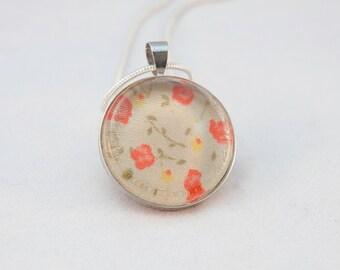 Bezel Set Vintage Fabric Necklace - Mary