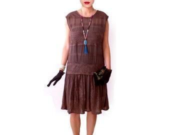 Retro Flapper Dress, Great Gatsby Dress, Flapper Costume, 1920s Dress, 20s Dress, Roaring 20s Dress,Downton Abbey, Lace Chiffon,Brown MABEL