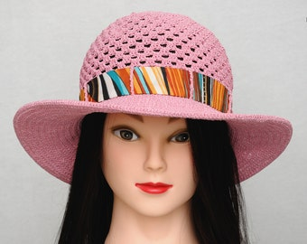 Crochet Sun Hat Wife Gift for Women Crochet Hat Womens hats Summer Hat Beach Hat Wide Brim Hat Gift for Her Sun Hat With Brim Rose Hat Pink