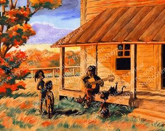 Art poster print A4 comic style watercolour painting music musician guitar grandma children family veranda blues USA orange red evening
