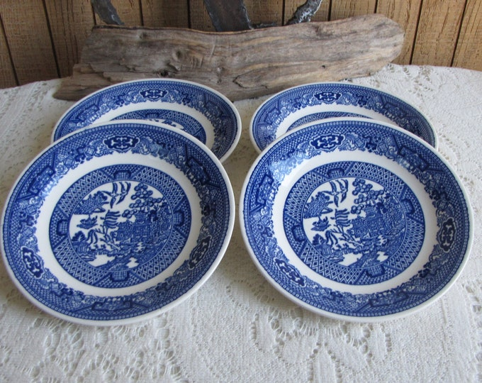 Blue Willow Saucers Royal China Set of Four (4) Small Plates Vintage Dinnerware and Replacements