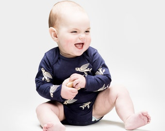 Flying Fish - Organic Longsleeve Onesie. Organic cotton one piece / bodysuit romper and perfect baby shower gift