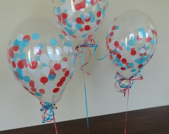 """8 or 16 Count: 11"""" Confetti Balloons with Red, White, & Aqua Confetti- Shower, Birthday, 1st, Wedding, Winter Wonderland, Holiday, One"""