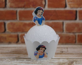 Snow White Cupcake Wrappers and toppers set, Snow White cupcake wrapper, Snow White cupcake picks, Princess party