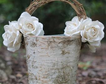 Flower Girl Basket Birch Shabby Chic Rustic Wedding