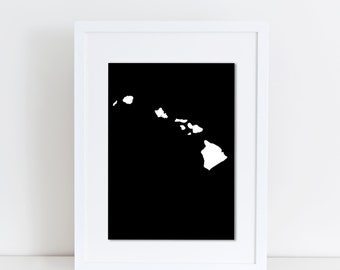 State of Hawaii, Print, Poster, Instant Download, Abstract, Black & White