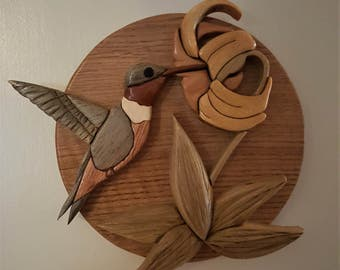 Wood Wall Hanging - Hummingbird - Intarsia