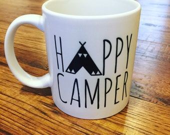 Happy Camper Coffee Mug - Camping - Tent - Nature Lover - Dishwasher Safe - Microwave Safe - Coffee Cup
