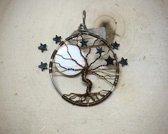 Handmade Wire Wrapped Full Moon and Stars Tree of Life