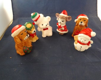 Six Vintage Ceramic Christmas Holiday Figures