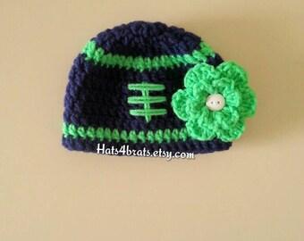 Seattle Seahawks Baby Hat, Baby Crochet Football Hat, Baby Girl's Seahawk Hat, Newborn Girl Photo Prop, Baby Photo Prop, Seattle Seahawks