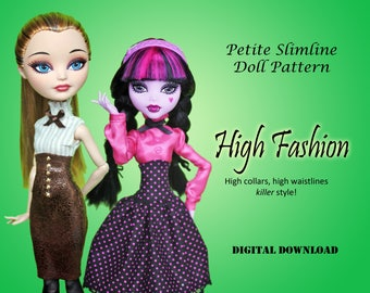 High Fashions vintage sewing dress pattern for Petite Slimline Fashion Doll: Monster, Ever After, Dal, Hero Girls